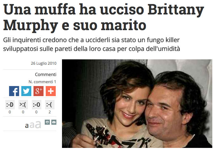 una muffa ha ucciso brittany Murphy e suo marito